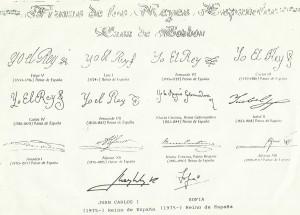 Las firmas de nuestros Reyes a lo largo de la Historia.