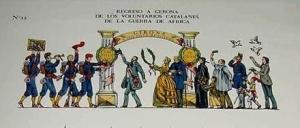 ANTIGUO-RECORTABLE-DEL-REGRESO-A-GERONA-DE-LOS-VOLUNTARIOS-CATALANES-DE-LA-GUERRA-DE-AFRICA-DIA-14-DE-MAYO-DE-1860-Imprenta-Pla-Dalmau-de-Gerona-295-x-395-cms