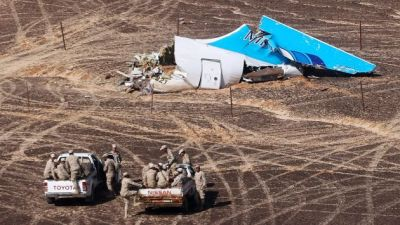 "TOPSHOTS A handout picture taken on November 1, 2015 and released on November 3, 2015 by Russia's Emergency Ministry shows the wreckage of a A321 Russian airliner in Wadi al-Zolomat, a mountainous area of Egypt's Sinai Peninsula. Russian airline Kogalymavia's flight 9268 crashed en route from Sharm el-Sheikh to Saint Petersburg on October 31, killing all 224 people on board, the vast majority of them Russian tourists. AFP PHOTO / RUSSIA'S EMERGENCY MINISTRY / MAXIM GRIGORYEV *RESTRICTED TO EDITORIAL USE - MANDATORY CREDIT ""AFP PHOTO / RUSSIA'S EMERGENCY MINISTRY / MAXIM GRIGORYEV"" - NO MARKETING NO ADVERTISING CAMPAIGNS - DISTRIBUTED AS A SERVICE TO CLIENTS *"