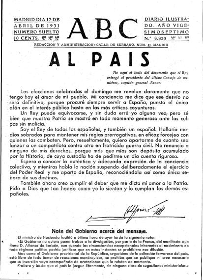 Resultado de imagen de DESPEDIDA DE ALFONSO XIII