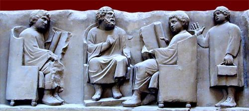 Un maestro, rodeado por sus discípulos, dicta una clase. Bajorrelieve descubierto en una tumba en Trier (antigua Augusta Treverorum, Alemania) 2