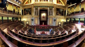 Madrid 12 06 14 Preparativos para la coronacion de Felipe VI de la proxima semana en el hemiciclo del Congreso de los Diputados FOTO JOSE LUIS ROCA